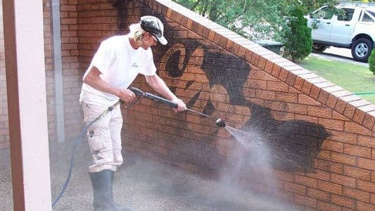 Residentail Exterior Cleaning Graffiti Removal Services Brick Wall Brisbane